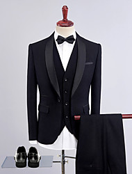 cheap -Tuxedos Tailored Fit Shawl Collar Single Breasted One-button Wool / Polyester Solid Colored