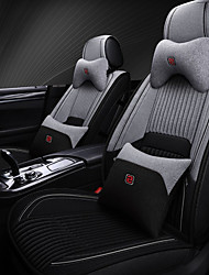 cheap -5 seats with two pillows and two waist pads black and grey four seasons universal car Seat Cover/linen material/Airbag compatibility/fiadjustable and removable
