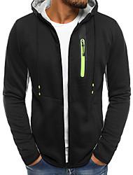 cheap -Men's Basic / Street chic Long Sleeve Hoodie / Hoodie Jacket - Color Block Hooded Black XL / Fall / Winter