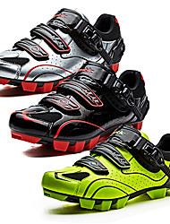 cheap -SANTIC Mountain Bike Shoes Nylon Breathable Anti-Slip Ultra Light (UL) Cycling Black / White Black / Red fluorescent green Men's Cycling Shoes / Breathable Mesh / Hook and Loop