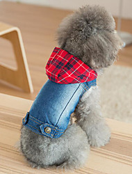 cheap -Dogs Cats Hoodie Denim Jacket / Jeans Jacket Dog Clothes Red Costume Denim Plaid / Check Patchwork Stylish Cowboy S M L