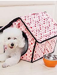 cheap -Dog Pets Bed Tent Cave Bed Pet House Portable Warm Tent Pet Mats & Pads Fabric Geometric Heart Fuchsia Blue Pink