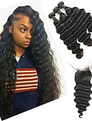 Недорогие -3 комплекта с закрытием Индийские волосы Крупные кудри человеческие волосы Remy Накладки из натуральных волос Волосы Уток с закрытием 8-26 дюймовый Нейтральный Ткет человеческих волос / 10A