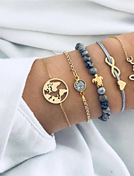 cheap -5pcs Women's Gray Crystal Bead Bracelet Bracelet Stacking Stackable Maps Heart Turtle Dainty Ladies Bohemian Fashion everyday Alloy Bracelet Jewelry Gold For Gift Evening Party