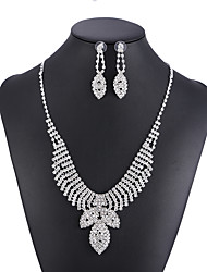 cheap -Women's White Crystal Necklace Earrings Set Tennis Chain Gypsophila Fashion Rhinestone Earrings Jewelry Silver For Wedding Party 1 set