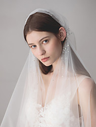 cheap -One-tier European Style Wedding Veil Fingertip Veils with Crystals / Rhinestones 47.24 in (120cm) Cotton / nylon with a hint of stretch / Angel cut / Waterfall