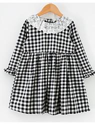 cheap -Kids Girls' Basic Check Long Sleeve Dress Black
