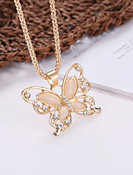 cheap -Women's Statement Necklace Hollow Out Butterfly Ladies Dangling Fashion Elegant Rhinestone Alloy Gold 62 +5 cm Necklace Jewelry 1pc For Going out Birthday