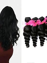 cheap -4 Bundles Hair Weaves Brazilian Hair Loose Wave Human Hair Extensions Remy Human Hair 100% Remy Hair Weave Bundles 400 g Natural Color Hair Weaves / Hair Bulk Human Hair Extensions 8-28 inch Natural