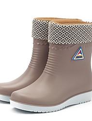 cheap -Women's Boots Rain Boots Flat Heel Round Toe Polyester / PVC Mid-Calf Boots Casual Fall & Winter Black / Wine / Blue / EU39