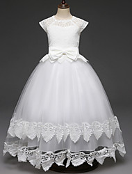 cheap -Princess Long Length Wedding / First Communion Flower Girl Dresses - Lace / Tulle Cap Sleeve Scalloped Neckline with Lace / Belt