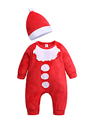 cheap -Baby Boys' Basic Christmas / Daily / Holiday Solid Colored / Christmas Long Sleeve Cotton Romper Red