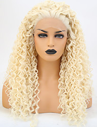 cheap -Synthetic Lace Front Wig Curly Layered Haircut Lace Front Wig Blonde Long Light Blonde Synthetic Hair 24 inch Women's Adjustable Heat Resistant Blonde
