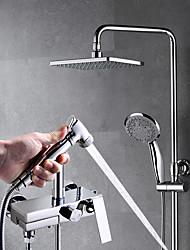 cheap -Shower Faucet - Contemporary Chrome Wall Installation Brass Valve Bath Shower Mixer Taps / Single Handle Three Holes