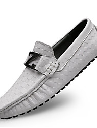 cheap -Men's Loafers & Slip-Ons Leather Shoes Moccasin Casual British Daily Office & Career Nappa Leather Massage Non-slipping Wear Proof White Black Blue Spring