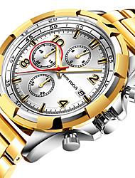 cheap -MINI FOCUS Men's Wrist Watch Quartz Stainless Steel Black / Blue / Gold 30 m Calendar / date / day Stopwatch Noctilucent Analog Luxury Fashion - Black / Rose Gold Gold Blue One Year Battery Life