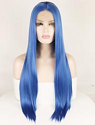 Недорогие -Синтетические кружевные передние парики Прямой Шелковисто-прямые Средняя часть Лента спереди Парик Длинные Синий Искусственные волосы 14-26 дюймовый Жен. Шелковистость Гладкие Регулируется Синий