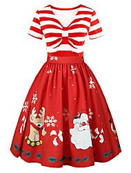 Недорогие -Платья Новогоднее платье Санта-одежда Взрослые Жен. Платья Рождество Рождество Новый год Фестиваль / праздник Полиэстер Красный Карнавальные костюмы Рождество Рисунок