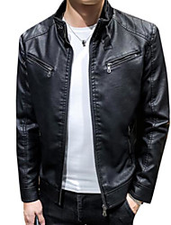 cheap -Men's Daily Fall & Winter Regular Leather Jacket, Solid Colored Stand Long Sleeve PU Black / Yellow / Wine