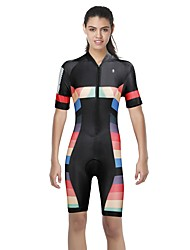 cheap -ILPALADINO Women's Short Sleeve Triathlon Tri Suit Black Bike Triathlon / Tri Suit Mountain Bike MTB Road Bike Cycling Breathable Moisture Wicking Quick Dry Sports Elastane Clothing Apparel
