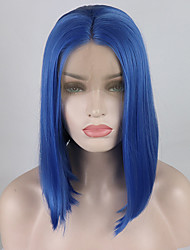 cheap -Synthetic Lace Front Wig Straight / Natural Straight Minaj Style Middle Part Lace Front Wig Blue Lake Blue Synthetic Hair 12-16 inch Women's Adjustable / Heat Resistant / Elastic Blue Wig Short 180