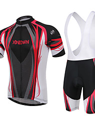 cheap -XINTOWN Men's / Women's Short Sleeve Cycling Jersey with Bib Shorts - Red / Blue Plus Size Bike Padded Shorts / Chamois / Clothing Suit, Breathable, 3D Pad Curve / High Elasticity