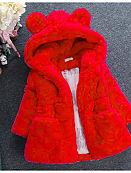 cheap -Kids Toddler Girls' Basic Street chic Daily Going out Solid Colored Fur Trim Long Sleeve Regular Jacket & Coat Red