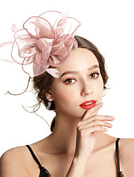 cheap -Polyester / Polyamide Fascinators with Feather / Flower / Solid 1pc Wedding / Special Occasion Headpiece