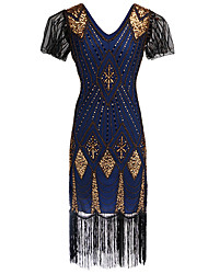 cheap -The Great Gatsby Charleston Vintage 1920s Roaring 20s Flapper Dress Dress Women's Sequins Costume Golden / Red+Golden / Blue Vintage Cosplay Party Homecoming Prom Short Sleeve Knee Length