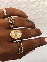 cheap -Women's Knuckle Ring Ring Set Multi Finger Ring 5pcs Gold Silver Resin Alloy Oval Ladies Unusual Asian Gift Daily Jewelry Retro Sun Eyes Cool