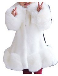 cheap -Kids Girls' Basic Solid Colored Long Sleeve Faux Fur Suit & Blazer White