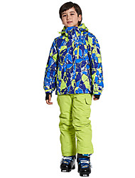 cheap -Boys' Girls' Ski Jacket with Pants Camping / Hiking Winter Sports Thermal / Warm Waterproof Windproof Chinlon Terylene Clothing Suit Ski Wear / Kids / Stripes