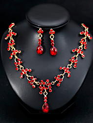 cheap -Women's Jewelry Set Bridal Jewelry Sets Tassel Fringe Pear Fashion Silver Plated Earrings Jewelry Red / Silver For Christmas Wedding Halloween Party Evening Gift 1 set