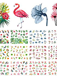 cheap -12 pcs Water Transfer Sticker Leaf / Flower nail art Manicure Pedicure New Design / Best Quality / High quality, formaldehyde free Tropical / Sweet Christmas / Party / Evening / Daily