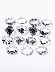 cheap -Women's Ring Set Midi Rings Stackable Rings 15pcs Silver Alloy Ladies Romantic Bar Festival Jewelry Vintage Style