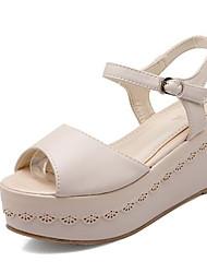 cheap -Women's Sandals Wedge Heel PU Summer White / Purple / Pink