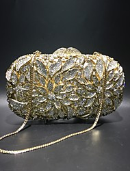 cheap -Women's Crystals / Hollow-out Alloy Evening Bag Rhinestone Crystal Evening Bags Solid Color Gold / Fall & Winter
