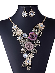 cheap -Women's Cubic Zirconia Bridal Jewelry Sets Hollow Out Flower Ladies Stylish Luxury Unique Design Rhinestone Gold Plated Earrings Jewelry Gold For Wedding Party