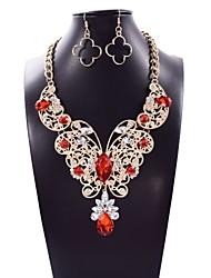 cheap -Women's Cubic Zirconia Drop Earrings Pendant Necklace Geometrical Butterfly Pear Ladies Asian Luxury Dangling Elegant Rhinestone Earrings Jewelry Red / Blue / Pink For Wedding Party Ceremony