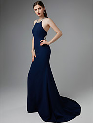 cheap -Mermaid / Trumpet Halter Neck Sweep / Brush Train Jersey Beautiful Back / Elegant Formal Evening Dress with Beading 2020