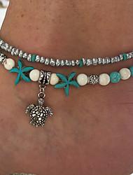 abordables -Bracelet à Perles Femme Perles Turquoise Bleu clair Etoile Ethnique Bracelet Bijoux Bleu clair pour Plein Air Sortie