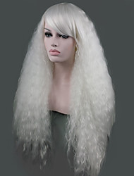 cheap -Synthetic Wig Curly Senegalese Twist Side Part Wig Long White Synthetic Hair 28 inch Women's Synthetic White