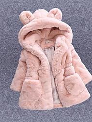 abordables -Enfants Fille Actif Quotidien Rabbit Couleur Pleine Bordure en Fourrure Manches Longues Normal Fausse Fourrure Rembourré Coton Blanc