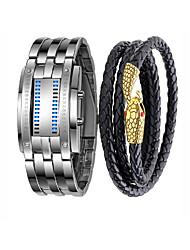 Недорогие -Муж. Наручные часы электронные часы Японский Цифровой Подарочный набор Нержавеющая сталь Кожа Черный / Серебристый металл 30 m Секундомер Творчество Новый дизайн Цифровой Винтаж На каждый день -