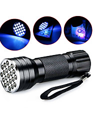 cheap -D12UV-1-0-2 LED Flashlights / Torch Black Light Flashlights / Torch Handheld Flashlights / Torch Waterproof LED 5mm Lamp 21 Emitters 1 Mode Waterproof Ultraviolet Light Camping / Hiking / Caving