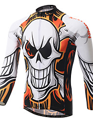 cheap -XINTOWN Men's Long Sleeve Cycling Jersey White Skull Bike Jersey Top Breathable Quick Dry Ultraviolet Resistant Sports Winter Elastane Terylene Mountain Bike MTB Road Bike Cycling Clothing Apparel