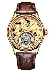 Недорогие -AngelaBOS Муж. Часы со скелетом Механические часы Механические, с ручным заводом Натуральная кожа Черный / Коричневый 50 m Защита от влаги С гравировкой Повседневные часы Аналоговый Роскошь Мода -