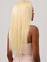 cheap -Human Hair Full Lace Wig Asymmetrical Kardashian style Indian Hair Silky Straight Golden White Wig 130% Density with Baby Hair Easy to Carry Easy dressing Natural New Arrival Women's Medium Length