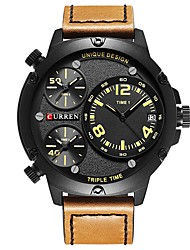 cheap -Men's Dress Watch Japanese Japanese Quartz Oversized Genuine Leather Black / Brown 30 m Water Resistant / Waterproof Calendar / date / day Casual Watch Analog Classic Casual Fashion - Black / Brown