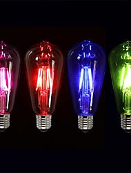 cheap -4pcs 4 W LED Filament Bulbs 360 lm E26 / E27 ST64 4 LED Beads COB Party Decorative Holiday Red Blue Green 220-240 V / RoHS